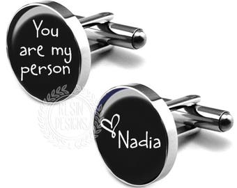 You Are My Person Wedding Cufflinks, Personalized Wedding Cufflinks, Custom, Grooms Cufflinks, Fiance, Grooms Gift, Wedding Day, Anniversary