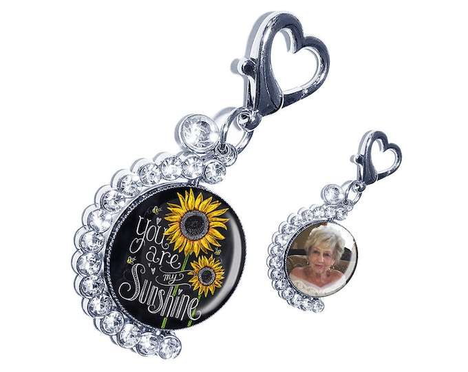 You are my Sunshine Wedding Bouquet Photo Charm, Personalized Brooch, Custom Spinning Picture Memory Charm, Memorial Gift for the Bride