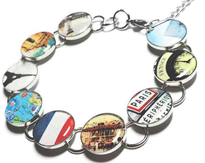 Paris France Bracelet, Paris is ALWAYS a Good Idea, Eiffel Tower Jewelry, Louvre Museum, French Flag, France, Gift for Her, Handmade Jewelry
