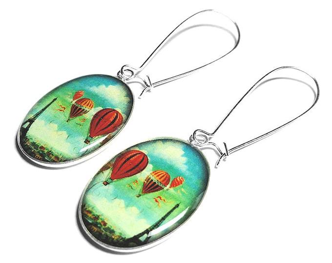 Hot Air Balloon Earrings, Dangle Earrings,  Eiffel Tower Earrings, Paris Jewelry, Resin Earrings, Handmade Jewelry, Resin Jewelry, French
