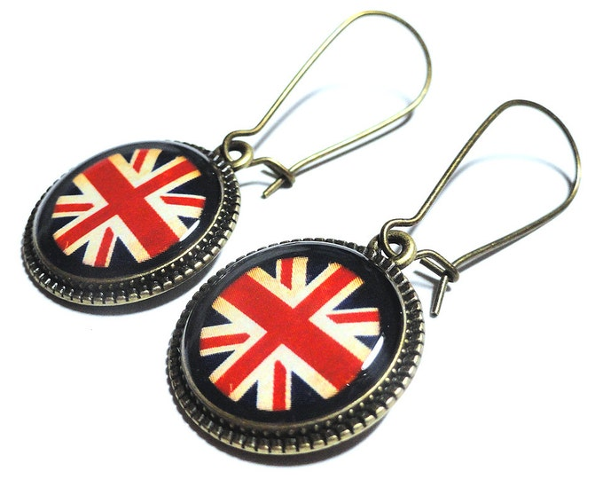 English Flag Earrings, American Flag Dangle Earrings, Irish, French, Gift for Her, Australian, German, Italian, Chinese