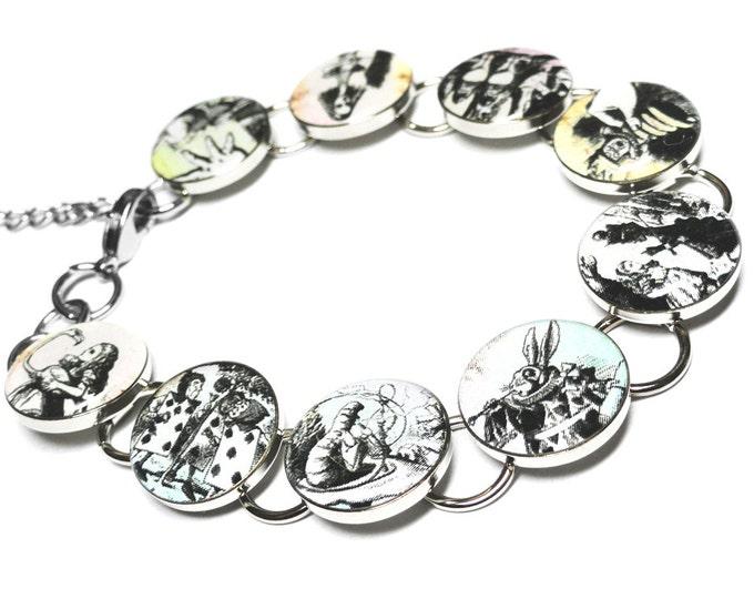 Alice in Wonderland Bracelet, Tea Party, Mad Hatter, Queen of Hearts, White Rabbit, Handmade, Alice in Wonderland Jewelry, Flamingo