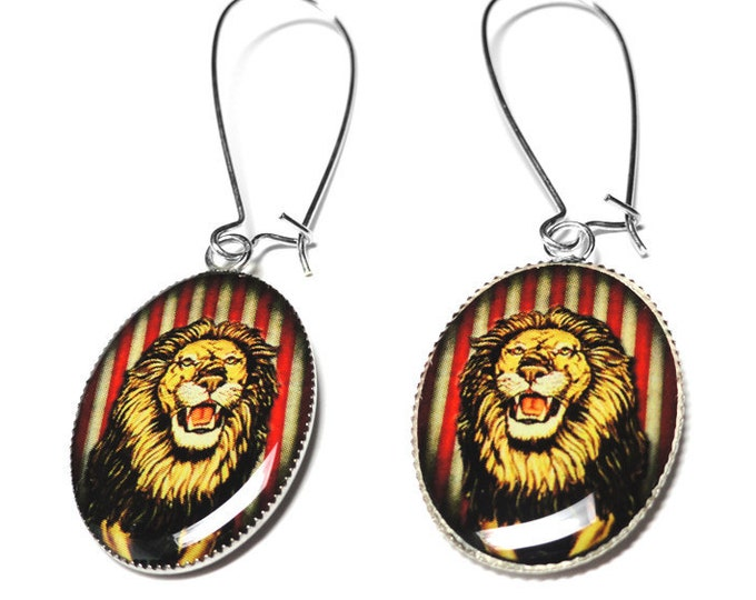 Circus Lion Earrings, Carnival Earrings, Dangle Earrings, Vintage Circus, Resin Earrings, Lion, Under The Big Top, Leo Jewelry, Red Earrings