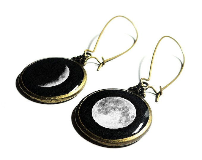 Moon Phase Earrings in Bronze, Phases of the Moon Jewelry, Full Moon Handmade Earrings, Lunar Phases Space Jewelry
