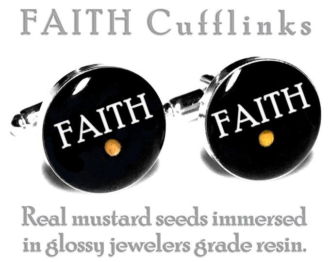 Real Mustard Seed Faith Wedding Cufflinks, Groom Fiance Gift, Grooms Cuff Links, Religious, Christian, Catholic,  Anniversary