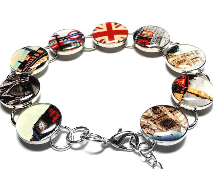 Union Jack Bracelet, Brexit Gift, England Red Bus, Big Ben, UK Gift, English Flag Jewelry, UK Flag, Union Jack Flag, Brexit Jewelry