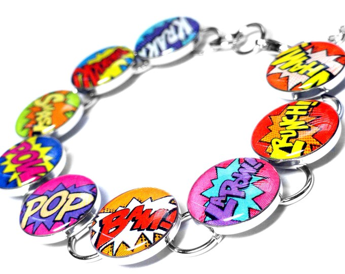 Comic book Super Hero Shout Outs Bracelet, Retro Comic Jewelry, Resin Cartoon Bracelet, Comic Con Gift, Gift for Her, Handmade Bracelet