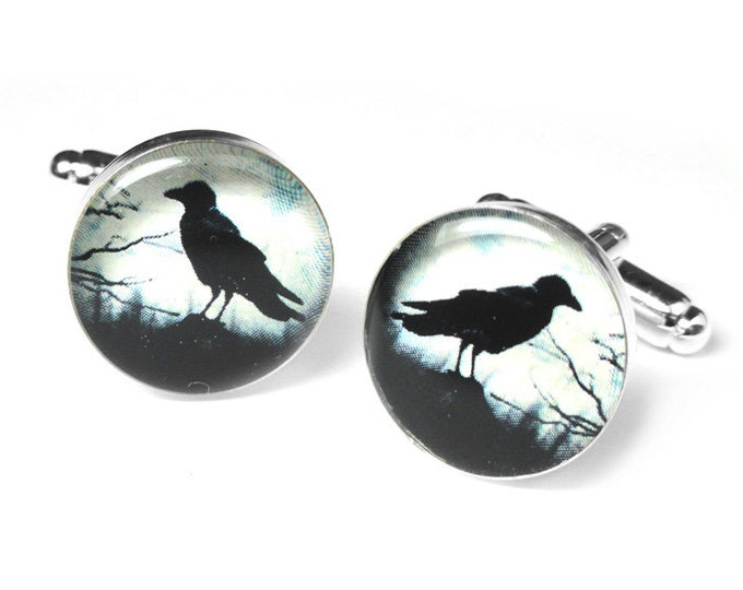 Black Raven Cufflinks, Black Crow Cuff Links, Edgar Allan Poe, Wedding Cufflinks, Gift for Him, Resin Cufflinks, Handmade Cufflinks