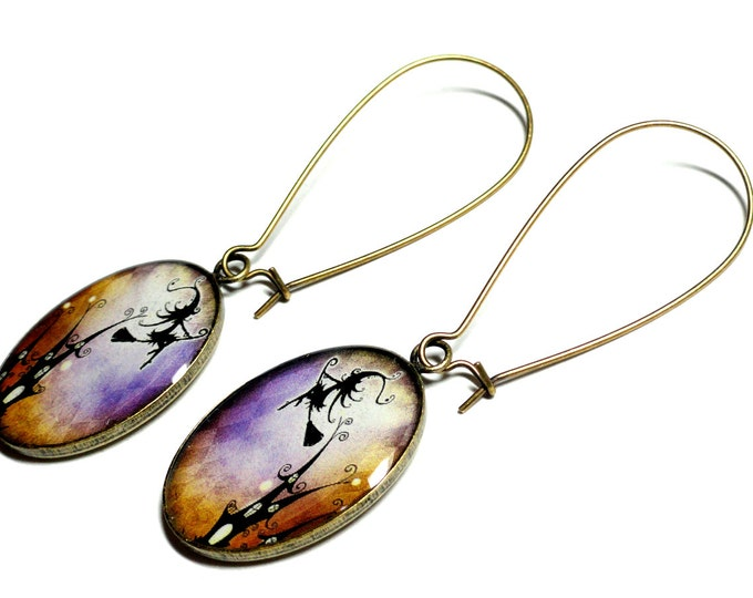 Halloween Witch Earrings, Handmade Dangle Earrings, Resin Jewelry, Fall Jewelry, Gift for Her, Gifts under 25