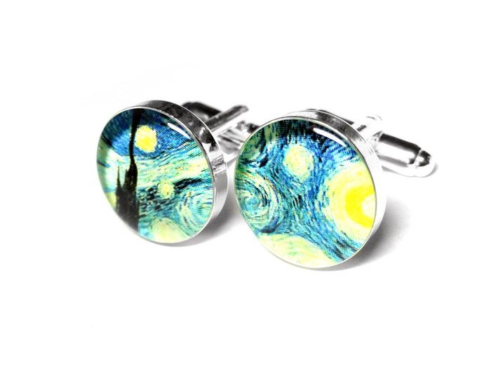 Starry Night Cufflinks, Vincent Van Gogh, Fine Art Gift for Dad, Fathers Day Gift, Resin Cufflinks, Grooms Gift, Valentines Day Gift for Him