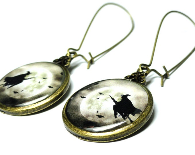 Halloween Witch and Moon Earrings, Moon Jewelry, Handmade Resin Jewelry, Resin Dangle Earrings, Handmade Earrings, Gothic Earrings