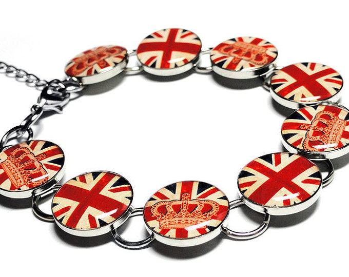 Union Jack Bracelet, English Flag Bracelet, UK Jewelry, Handmade Jewelry, Resin Bracelet, Crown, Brexit Jewelry, Handmade, England, Queen