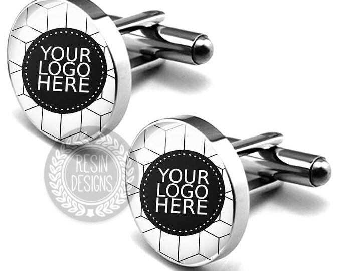 Custom Logo Cufflinks, Personalized Company Logo Cufflinks, Photo Cufflinks, Your Company Logo, Gift for Him, Personalized Cufflinks