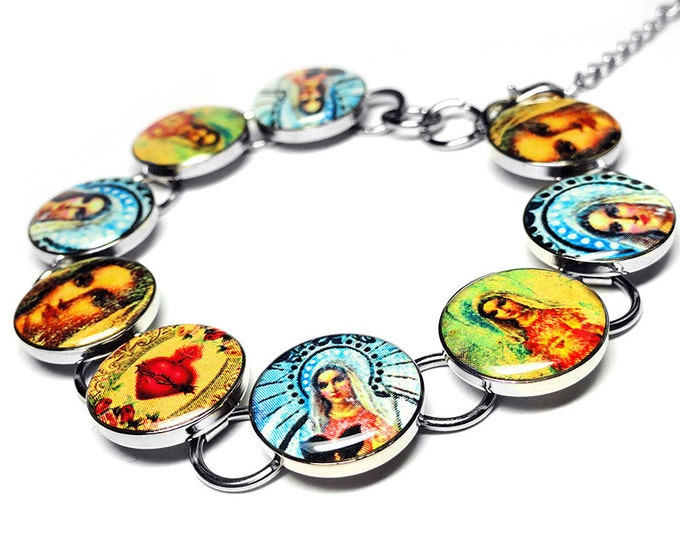 Sacred Heart Mary Bracelet, Religious Jewelry,  Handmade Jewelry, Madonna, Resin Bracelet, Lady of Guadalupe, Christian, Catholic