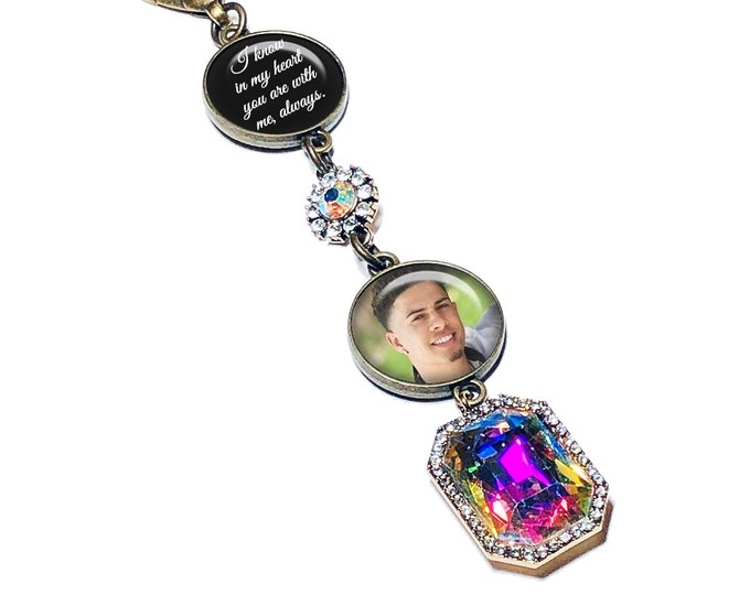 Crystal Wedding Bouquet Picture Charm, Gift For the Bride, Personalized Photo Memorial Brooch, Custom Crystal Keepsake, Something Blue