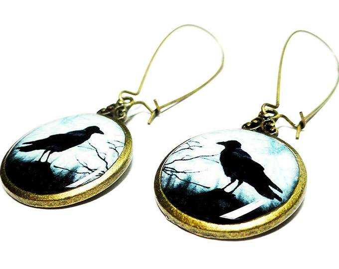 Raven Earrings, Black Crow Jewelry, Edgar Allan Poe, Book Jewelry, Black Dangle Handmade Earrings, Resin Jewelry, Gift for her, Goth Jewelry