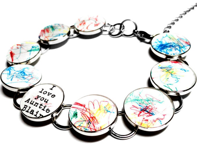 Childrens Artwork Custom Bracelet, Personalized Gift for Mom, Silver Resin Charm Link Bracelet, Childs Art, Kids, Mothers Day Gift