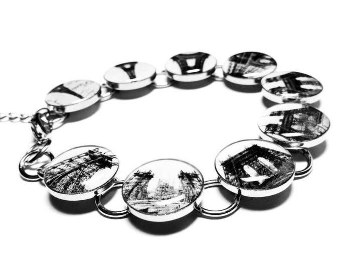 Eiffel Tower Resin Bracelet, Paris France Jewelry, French Architecture Bracelet, Handmade Jewelry, Paris France Monument, Black and White