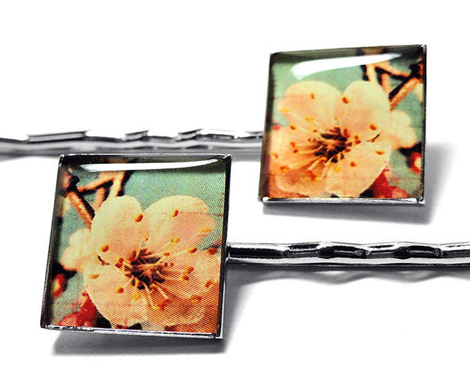 Cherry Blossom Flower Hair Clips, Bobby Pins, Gift for Her, Clips, Resin Jewelry, Hair Jewelry, Cherry Blossom Clips, Hair Pins