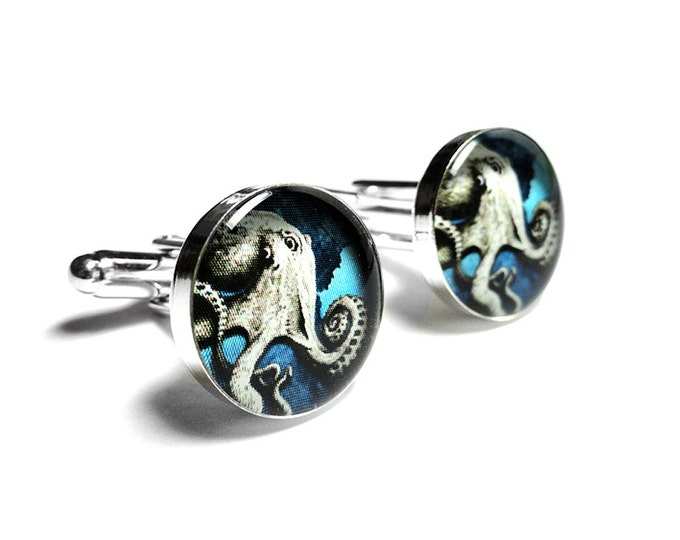 Octopus Cufflinks, Handmade Blue Cufflinks, Mens Gift, Blue Cufflinks, Gift for him, Cephalopod - Mollusk - Ocean