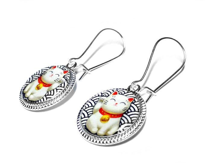 Lucky Cat Earrings, Maneki Neko Jewelry, Beckoning Cat, Japanese Good Luck Charm, Dangle Earrings, Gift for Her, Christmas Gift