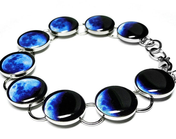 Blue Phases Of The Moon Bracelet, Space Jewelry, Moon Phase Bracelet, Handmade Resin Bracelet, Solar System, Lunar, Valentines Day Gift