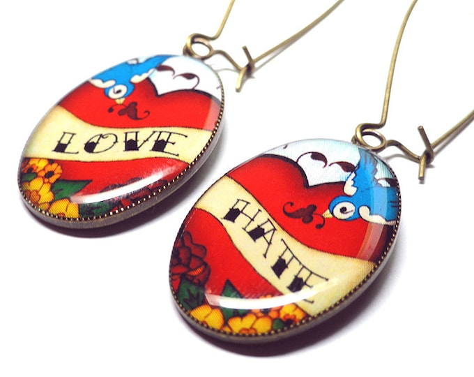 Love Hate Earrings, Swallow Tattoo Rockabilly Dangle Earrings, Vintage Tattoo, Handmade, Rockabilly, Swallow, Handmade Resin Earrings