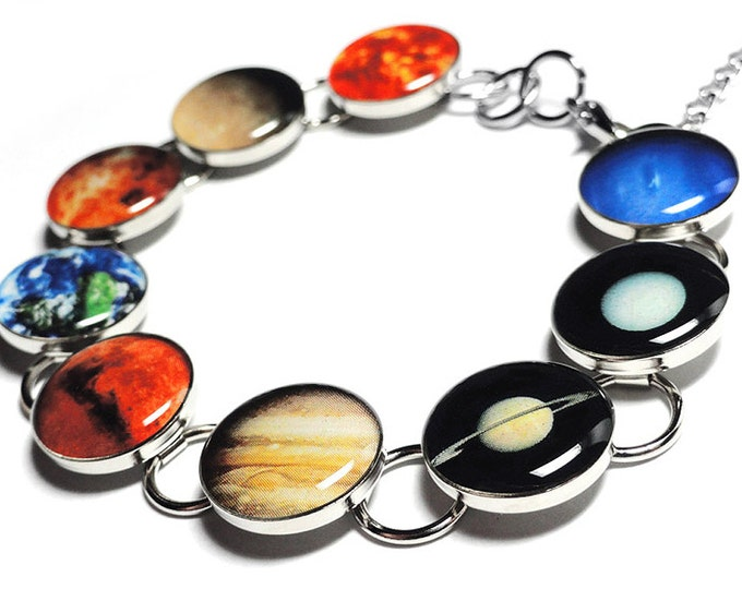 Space Planets Bracelet, Celestial Jewelry, Gift for Her, Valentines Day Gift, Christmas Gift, Handmade Jewelry, Solar System, Gift for Her