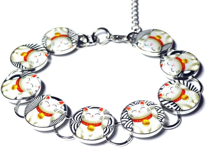 Lucky Cat Bracelet, Maneki Neko, Japanese Beckoning Cat, Good Luck, Cat Jewelry, Handmade Resin Bracelet, Valentines Day Gift, Gift for Her