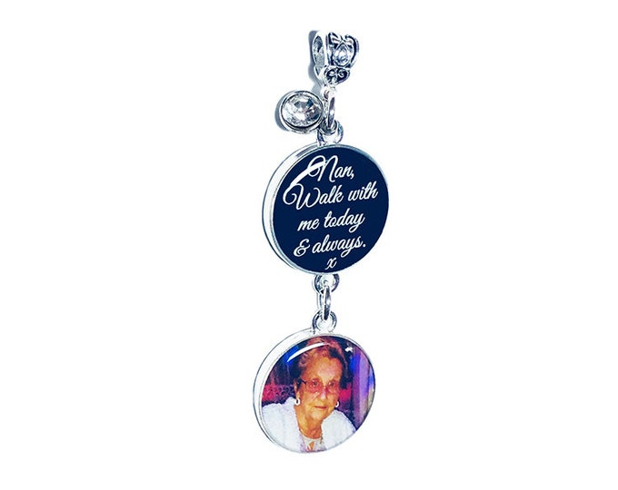 Wedding Bouquet Custom Photo Crystal Charm, Memorial Picture Charm, Personalized Brooch, Sixpence Coin, Gift for the Bride, Something Blue