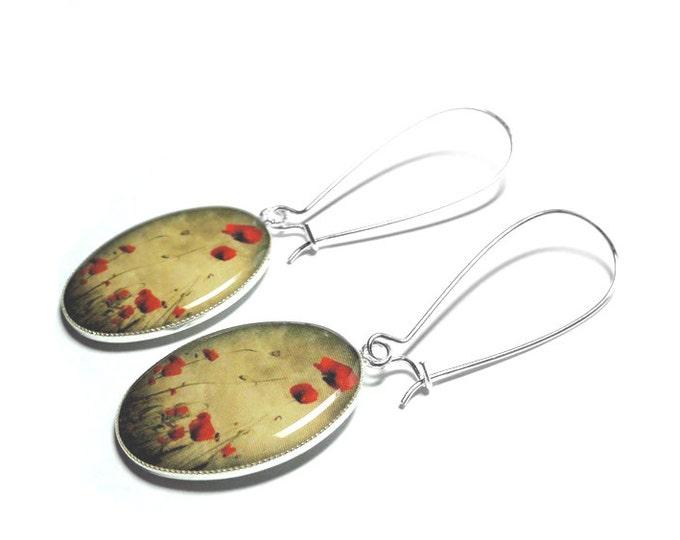 Red Poppy Flower Dangle Earrings, Red Poppies, Flower Jewelry, Handmade Resin Earrings, Valentines Gift for Her, Dangle Earrings, Birthday