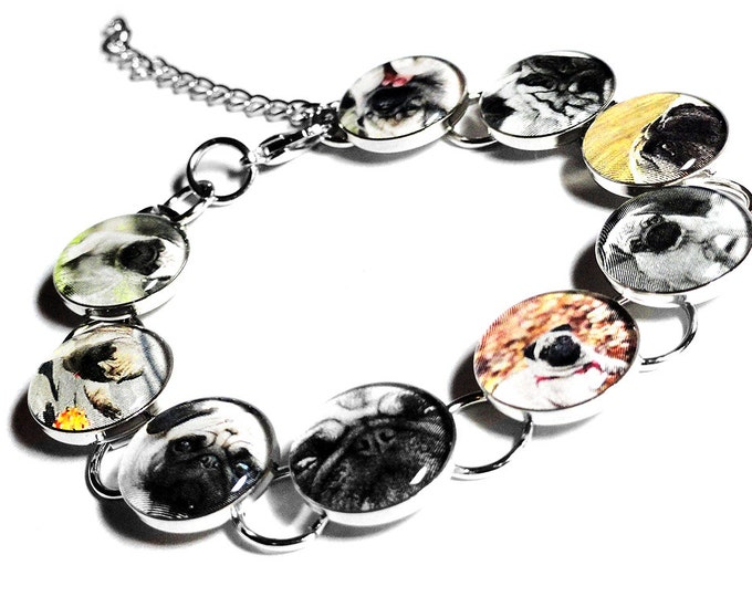 Personalized Pet Bracelet, Memorial Pet Jewelry, Christmas Gift, Custom Pet Jewelry, Pug Bracelet, Customized Photo Bracelet, Dog Cat Gift