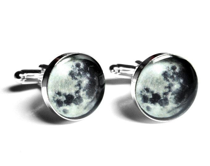 Full Moon Cufflinks, Moon Phase, Resin Cufflinks, Mens Accessories, Handmade Cufflinks, Lunar, Black Cufflinks, Space, Handmade