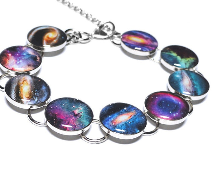 Galaxy Bracelet, Space Jewelry, Galaxies and Nebulas, Resin Handmade Jewelry, Space Jewelry, Gift for Her, Science Jewelry, Astrology Gift