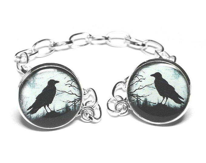Raven Collar Clips, Collar Clips, Sweater Clips, Edgar Allen Poe, Collar Pins, Handmade Jewelry, Resin, Black Crow, Gift for her, Black