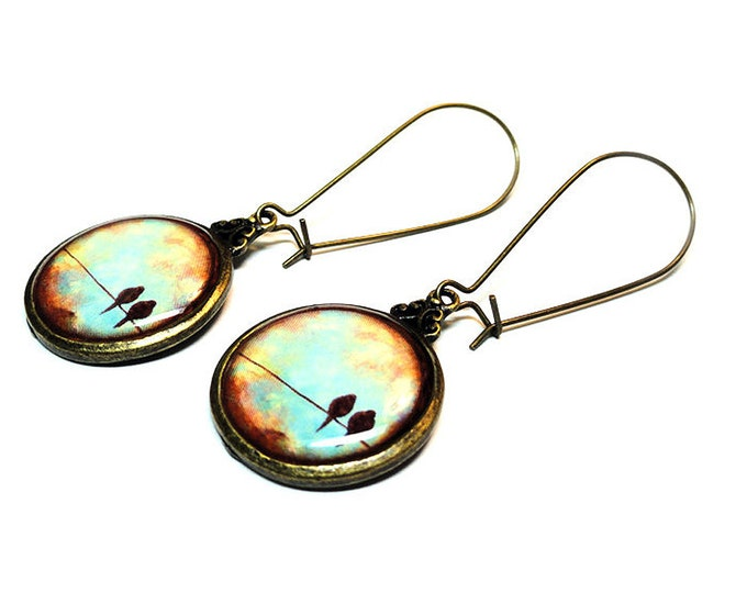 Bird on a Wire Earrings, Dangle Earrings, Blue Bird on a Wire, Handmade Bird Jewelry, Resin Earrings, Gift for Her, Resin Jewelry