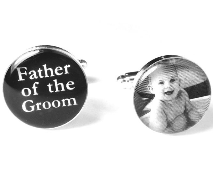 Father of the Groom Custom Photo Wedding Cufflinks, Personalized, Wedding Gift, Silver Cufflinks, Gift for Dad