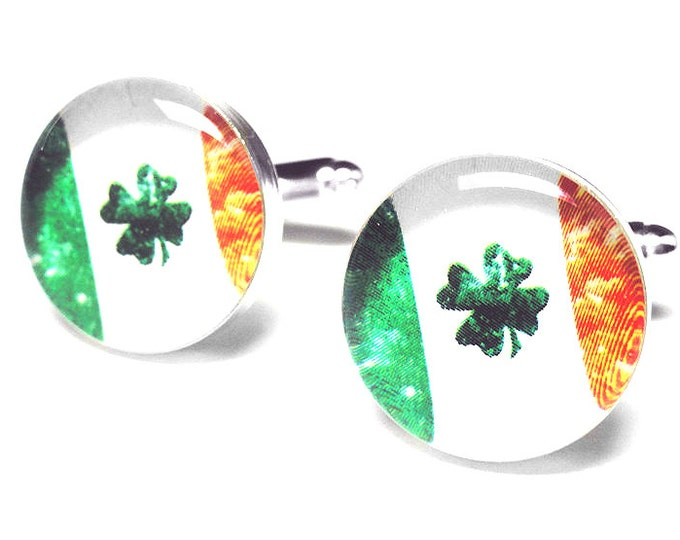 Irish Flag Cufflinks, Handmade Cufflinks, St. Patricks Day Gift, Mens Accessories, Gift for Him, Resin Cufflinks, Ireland, Lucky Shamrock