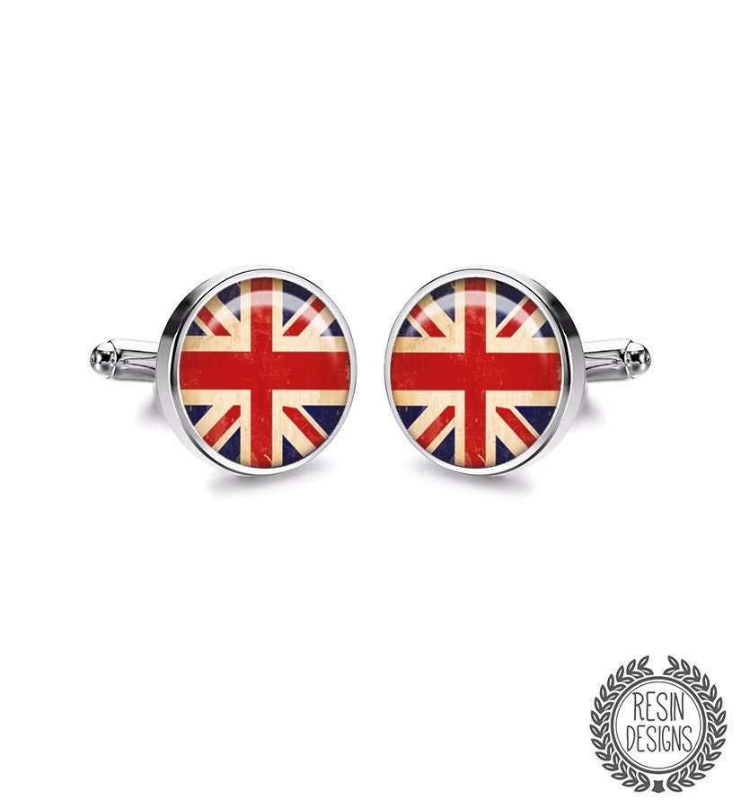 English Flag Cufflinks Wedding Gift American Flag French