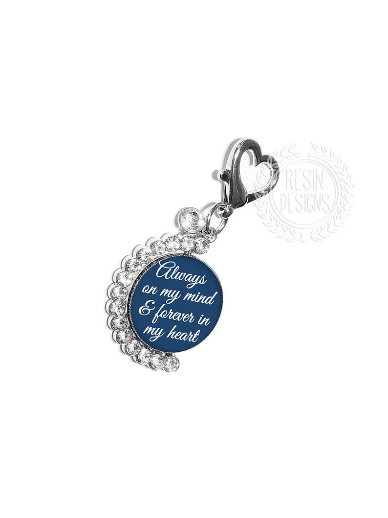 Wedding Memorial Pin Picture Bouquet Charm Something Blue Custom Photo Bouquet Charm Personalized Spinning Memory Picture Brooch