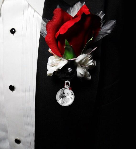 photo Inc En Boutonnière triple photo souvenir Charme Mariage Groom PIN