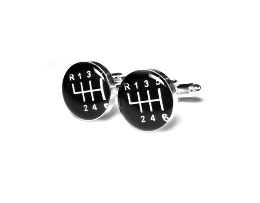 Gear Shift Mens Cufflinks Shift Knob Sports Car 6 Gear Handmade