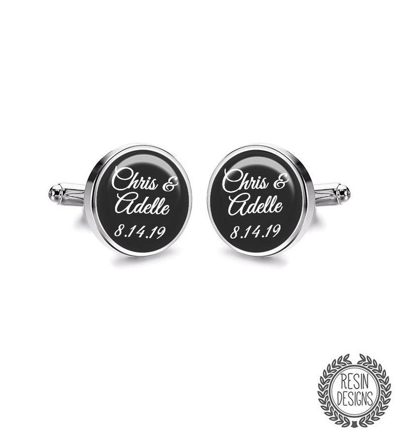 Custom Wedding Cufflinks Personalised Name Cufflinks