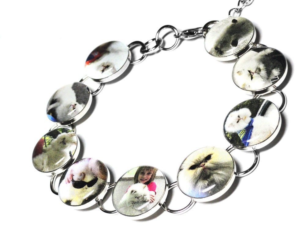 Personalized Pet Photo Bracelet, Custom Pet Jewelry, Cat