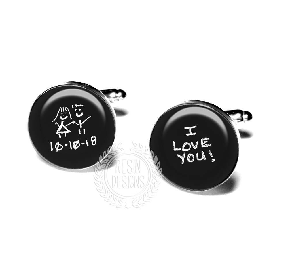 Personalized Handwriting Cufflinks Custom Cufflinks Fiance Gift