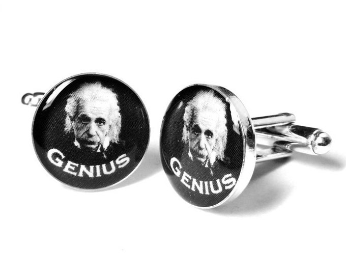Albert Einstein Genius Cufflinks, Scientist Cufflinks, Science, Geek Gifts, Mens Cufflinks, Resin, Handmade, Albert Einstein
