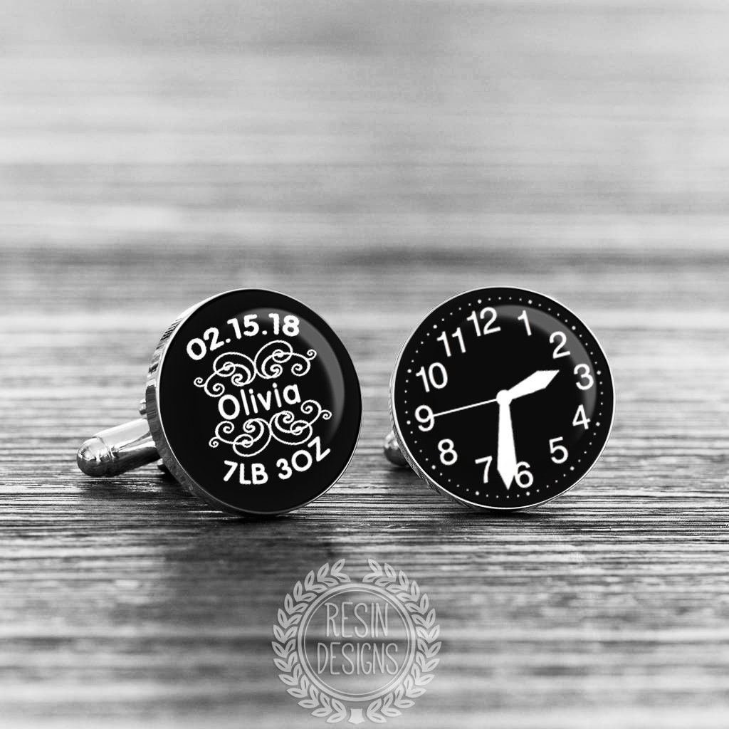 Father/'s Day Gifts for Dad Birthday Anniversary Gifts for Men Wedding Cufflinks Custom Personalised Any Text White on Black Cufflinks