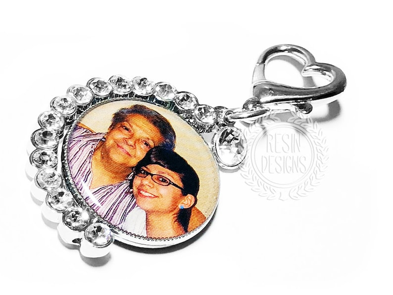 Custom Crystal Bridal Bouquet Picture Memorial Charm image 0