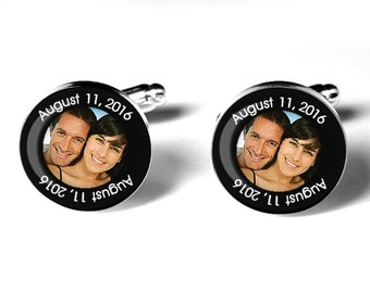Photo Cufflinks, Personalized Wedding Cufflinks, Fiance Cufflinks, Groom Cufflinks, Custom Cufflink, Personalized Cufflink, Anniversary Gift