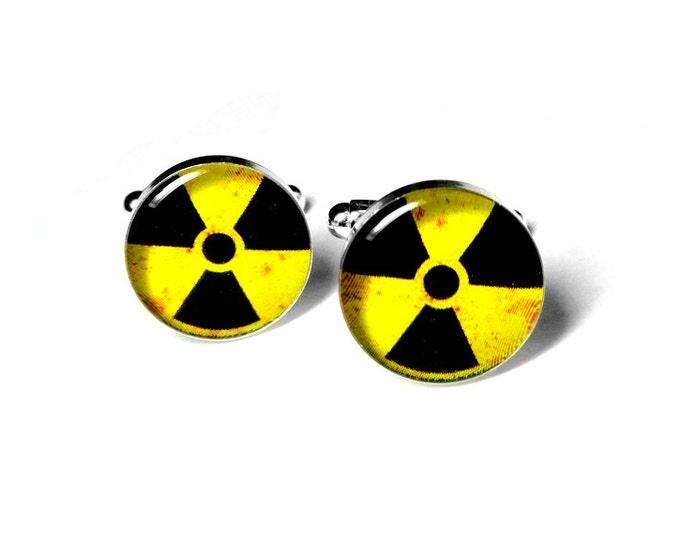 Hazardous Material Radioactive Cufflinks, Mens Accessories, Handmade Cufflinks, Science, Gift for Him, Resin Cufflinks, Cool Cufflinks